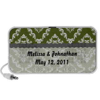 dark olive green and white damask wedding keepsake mp3 speaker