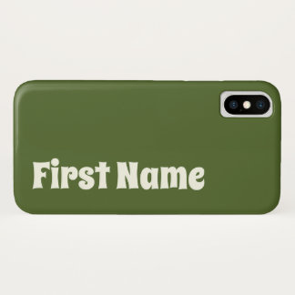 Dark Olive Green Background w/ Ivory Bold Name iPhone X Case