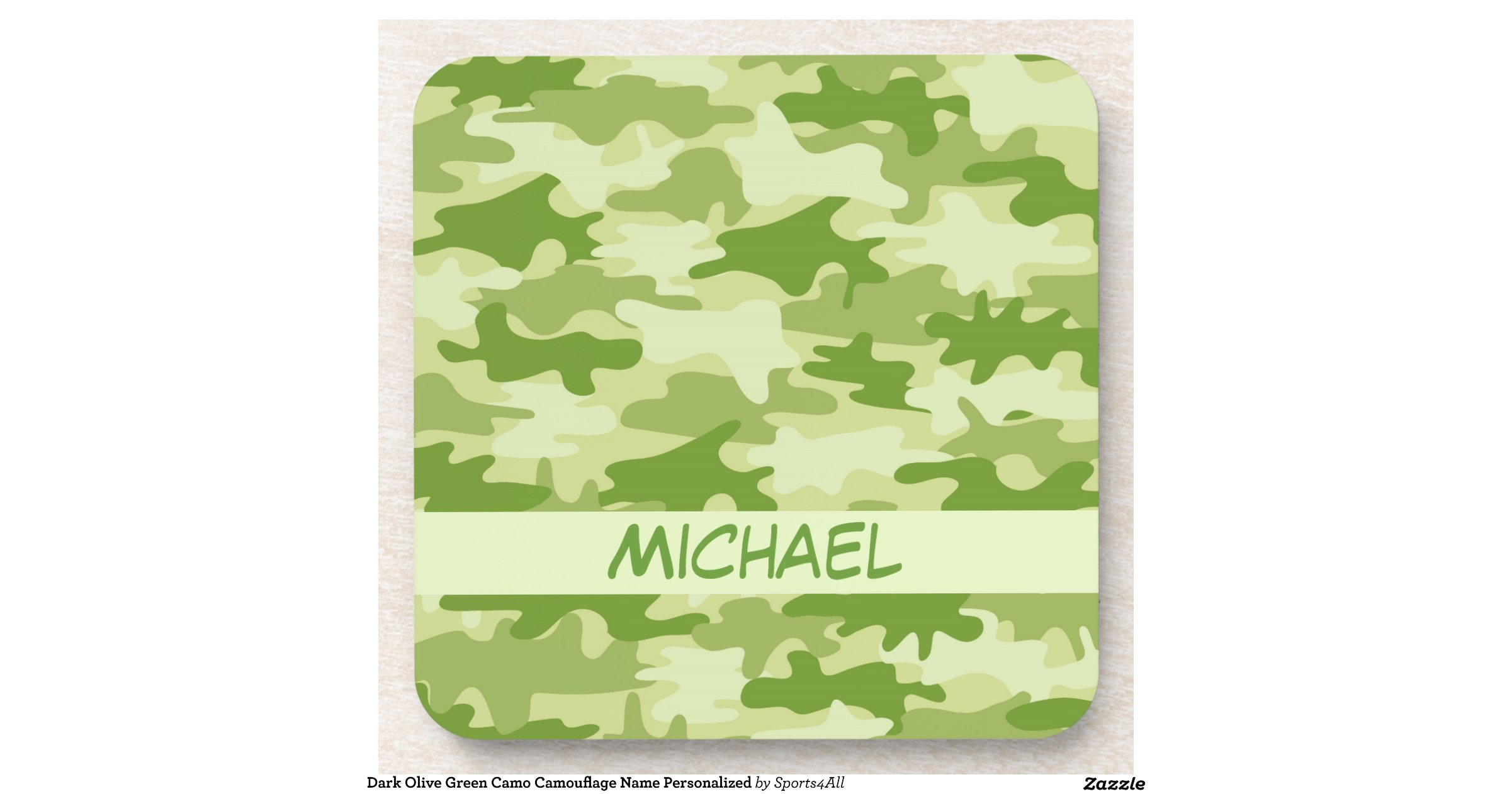 Dark Olive Green Camo Camouflage Name Personalised ...