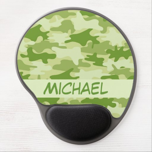 Dark Olive Green Camo Camouflage Name Personalized Gel Mouse Pads
