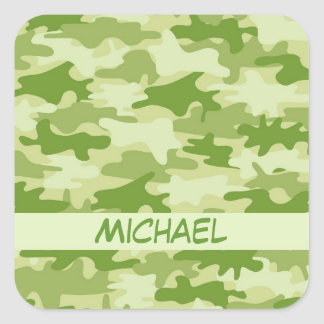 Dark Olive Green Camo Camouflage Name Personalized Square Sticker