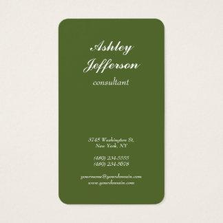 Dark Olive Green Minimalist Script Professional Business Card