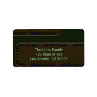 dark olive green modern tile border address label