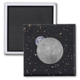 Dark or Far Side of the Moon Square Magnet