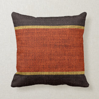 Dark Orange & Brown Rustic Burlap Jute Background Throw Pillow
