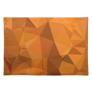 Dark Orange Carrot Abstract Low Polygon Background Placemat