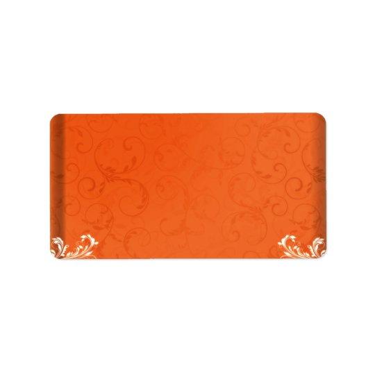 Dark orange damask wedding gift address label