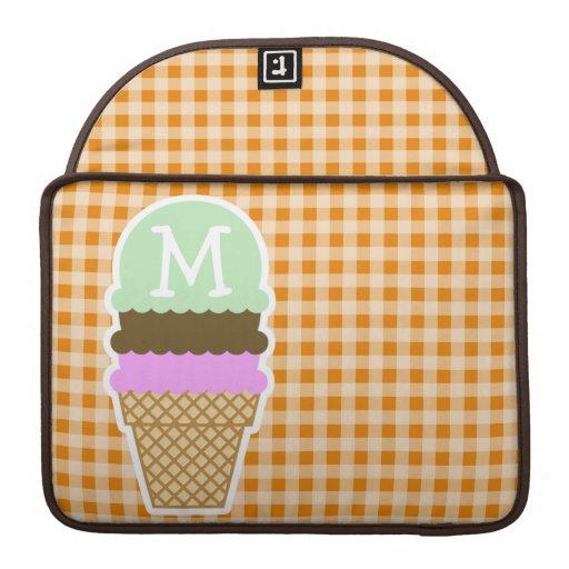 Dark Orange Gingham; Ice Cream Cone MacBook Pro Sleeve