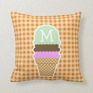 Dark Orange Gingham; Ice Cream Cone Throw Pillow