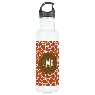 Dark Orange Giraffe Pattern Monogram 710 Ml Water Bottle