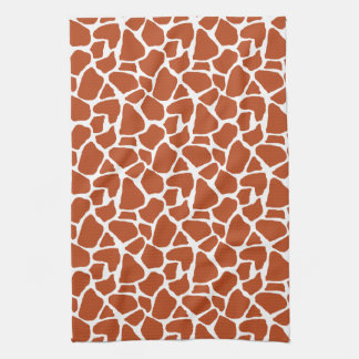Dark Orange Giraffe Pattern Tea Towel