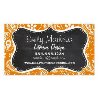 Dark Orange Paisley; Vintage Chalkboard look Business Card Template