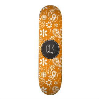 Dark Orange Paisley Vintage Chalkboard look Skate Board