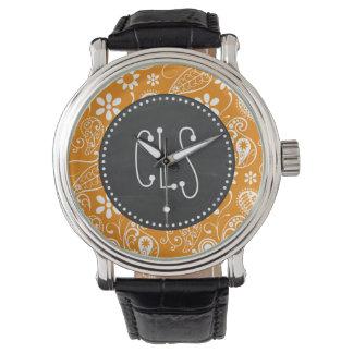 Dark Orange Paisley; Vintage Chalkboard look Watch