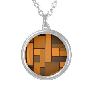 Dark Orange Parquet Design Necklace