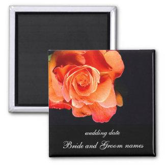 Dark Orange Rose Square Magnet