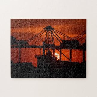 Dark Orange Sunset Silhouette Jigsaw Jigsaw Puzzle
