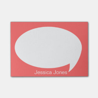 Dark Orange Talk Bubble Rounded Personalized Post-it® Notes