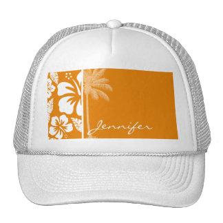 Dark Orange Tropical Hibiscus; Summer Palm Trucker Hat
