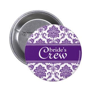 Dark Orchid Damask Bride's Crew Button