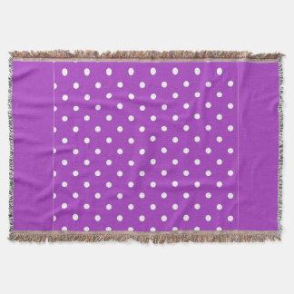 Dark Orchid Polka Dot Throw Blanket