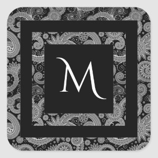 Dark Paisley Monogram Square Sticker
