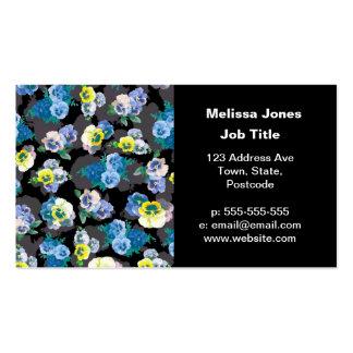 Dark pansies elegant flower print business card templates