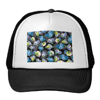 Dark pansies elegant flower print trucker hats