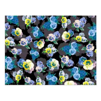 Dark pansies elegant flower print postcard