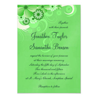 Dark Pastel Green Floral 5x7 Wedding Invitations