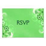Dark Pastel Green Floral RSVP Response Cards 9 Cm X 13 Cm Invitation Card
