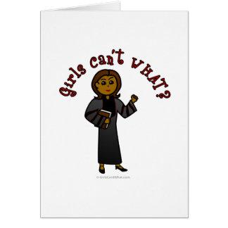 Dark Pastor Girl Greeting Card