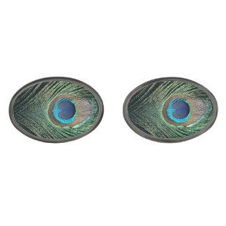Dark Peacock Feather Gunmetal Finish Cufflinks