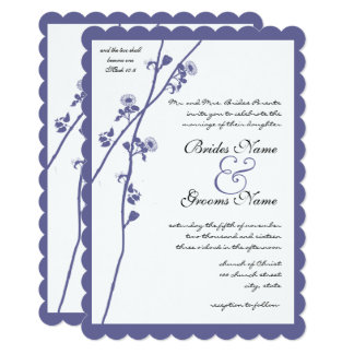 Dark Periwinkle Twilight Purple Wildflower Wedding Card