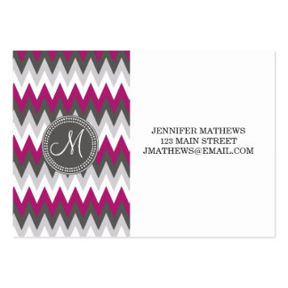 DARK PINK AND GRAY CHEVRON MONOGRAM PACK OF CHUBBY BUSINESS CARDS