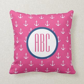 Dark Pink and Navy Blue Anchor Monogram Pillow