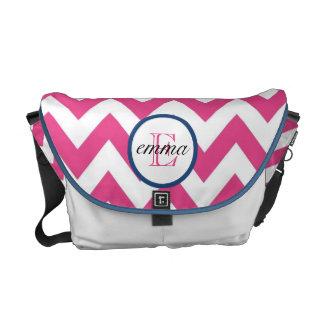 Dark Pink and Navy Blue Monogram Diaper Bag Messenger Bags
