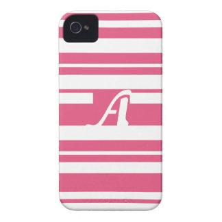 Dark Pink and White Random Stripes Monogram iPhone 4 Case-Mate Cases