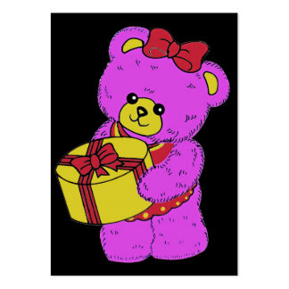 Dark Pink and Yellow Teddy Bear for Girls(2) Pack Of Chubby Business Cards