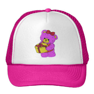 Dark Pink and Yellow Teddy Bear for Girls Hats