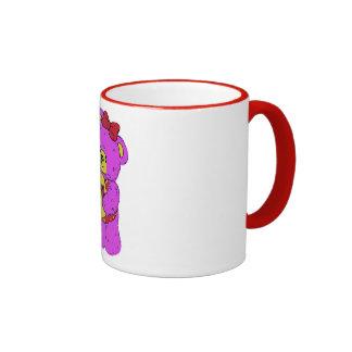 Dark Pink and Yellow Teddy Bear for Girls Coffee Mugs