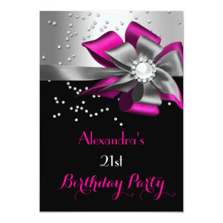 Dark Pink Black Silver Bow Pearl Birthday Party Card