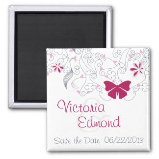 Dark Pink Butterfly Whimsy Save the Date Magnet