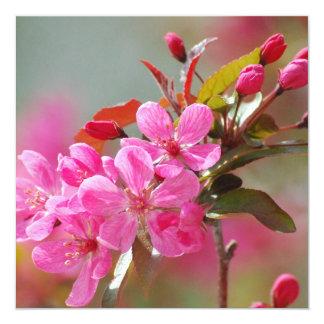 Dark Pink Cherry Blossoms 13 Cm X 13 Cm Square Invitation Card