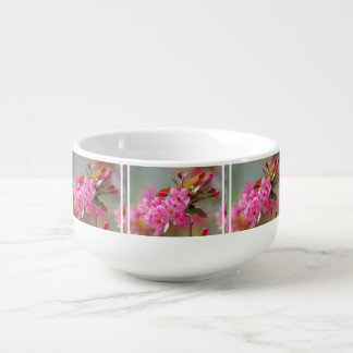 Dark Pink Cherry Blossoms Soup Bowl With Handle