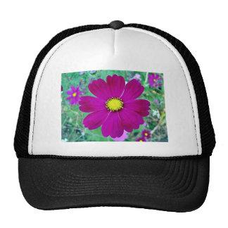 Dark Pink Cosmos flower Mesh Hat