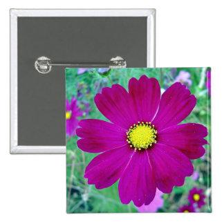 Dark Pink Cosmos flower Pinback Button