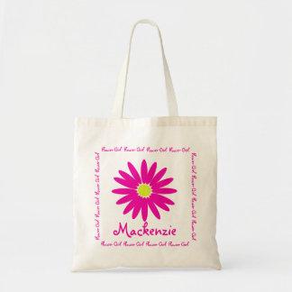 Dark Pink Daisy Flower Girl Tote Bags