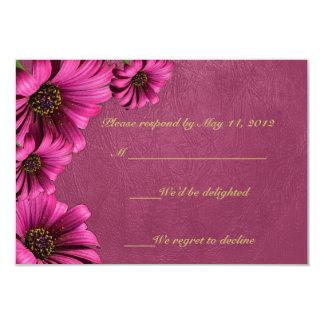 Dark Pink Daisy Leather RSVP Cards 9 Cm X 13 Cm Invitation Card