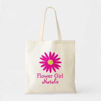 Dark Pink Daisy with Customisable Text Bags